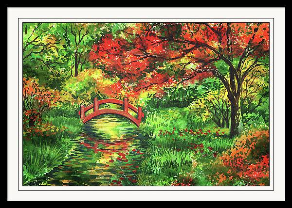 Beautiful Fall Garden Watercolor Painting with Red Bridge over Creek