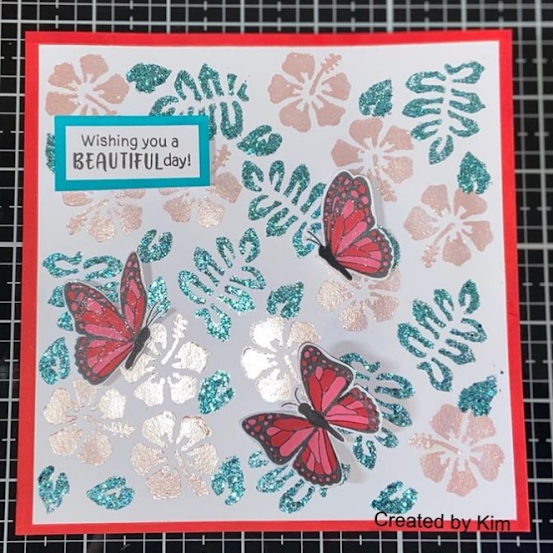 Wishing you a beautiful day by Kimberly Curphey features Monarchs and Hibiscus by Newton's Nook Designs; #newtonsnook, #inkypaws, #cardmaking