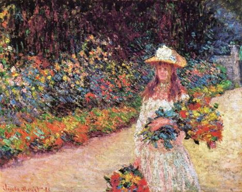 Moça no jardim de Giverny, pintura de Monet. #PraCegoVer
