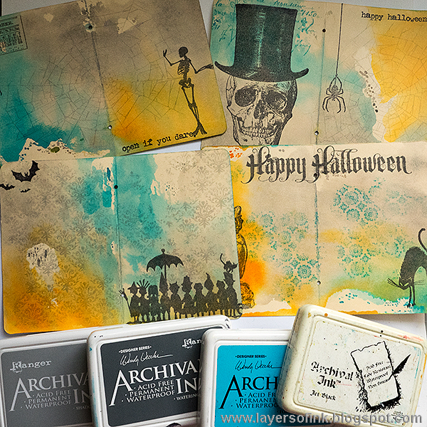 Layers of ink - Halloween Stamped Passport Book Tutorial by Anna-Karin