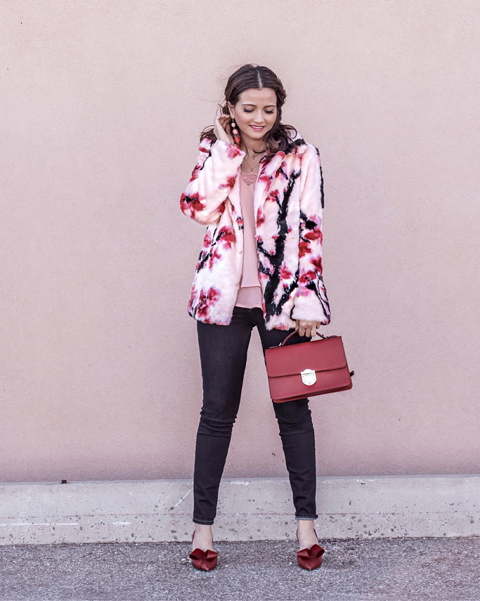 GUESS Where my Pink and Red Floral Faux Fur Coat is From