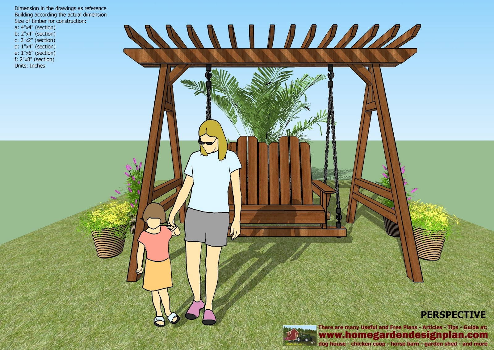 Swing Chair Drawing Wheelchair Toilet Home Garden Plans Sw101 Arbor Construction
