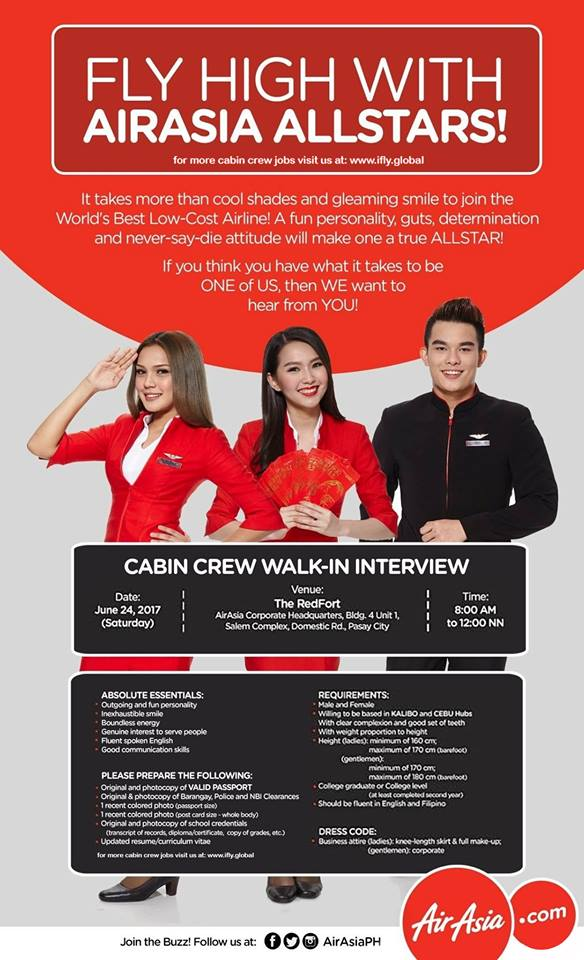 Fly gosh air asia cabin crew recruitment walk in for Cabin crew recruitment agency philippines