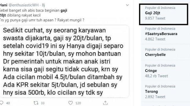 Gaji Rp 20 Juta Ngaku Rakyat Kecil Trending,Kata Netizen:Terus yang Gaji Rp 500.000 Rakyat Mikro?