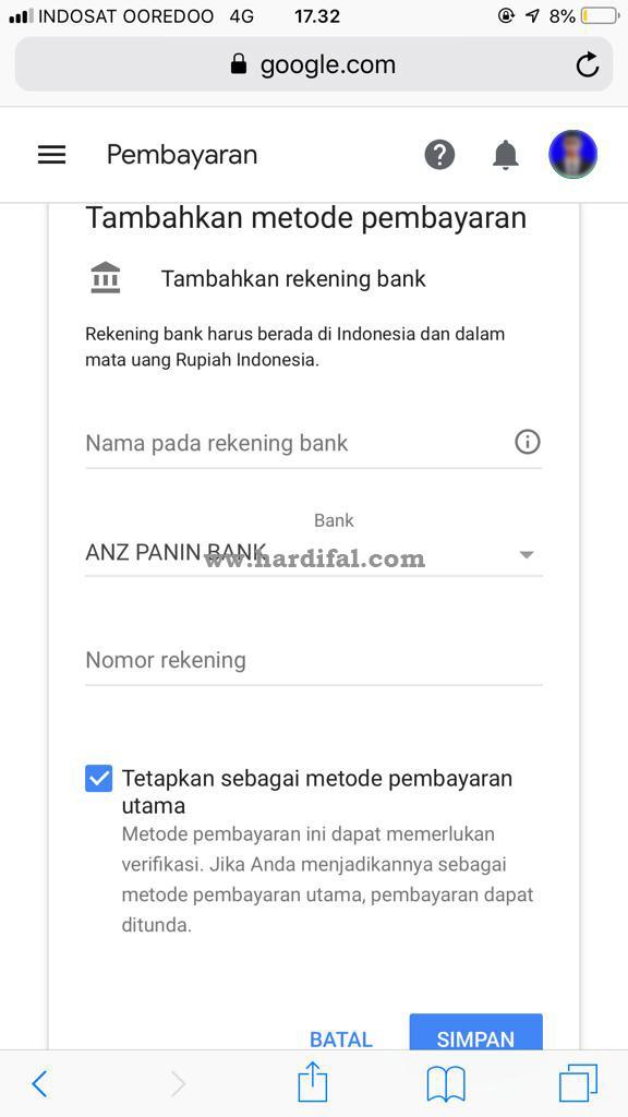 Cara verifikasi rekening bank di adsense
