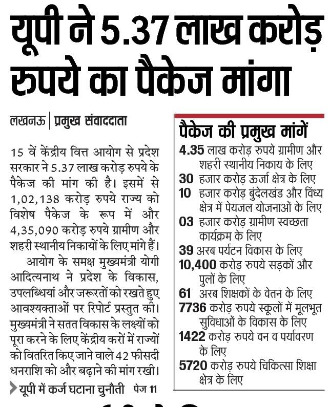 यूपी ने 5.37 लाख करोड़ रुपये का पैकेज मांगे