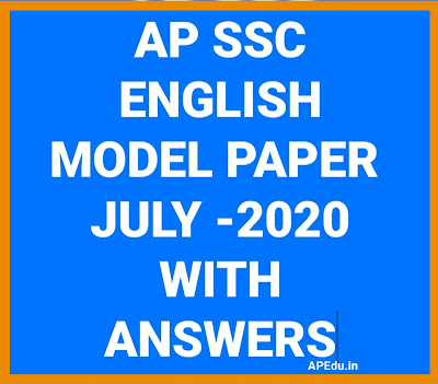 AP SSC ENGLISH MODEL PAPER  JULY -2020 WITH ANSWERS