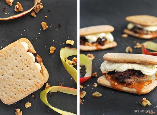 Süßer Bruger mit Karamellsauce, Buttersauce und Apple-Crumble