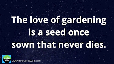 Quote Of The Day - The Love of gardening is a seed