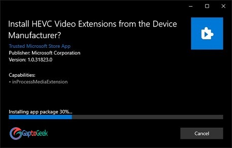 Proses Install HEVC x265 video ekstension | GaptoGeek
