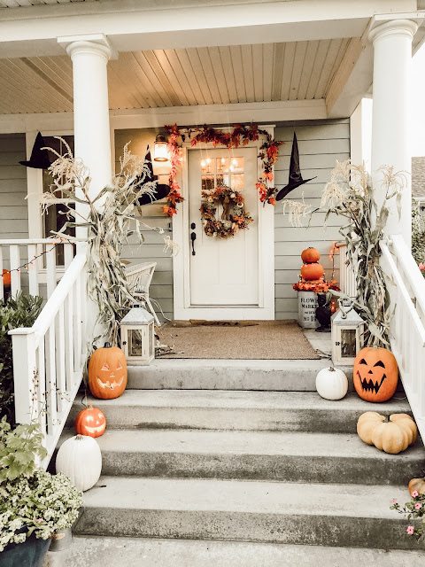 How to create Fall Porch with pumpkins and cornstalks