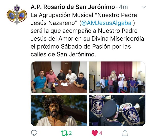 Asociación Parroquial de San Jeronimo de Sevilla firma a la AM Nuestro Padre Jesús Nazareno de la Algaba