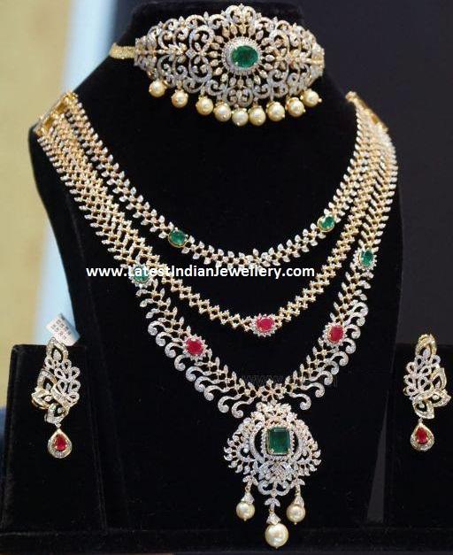 Bridal Diamond Necklace And Haram Set: 3 Step Diamond Bridal Piece