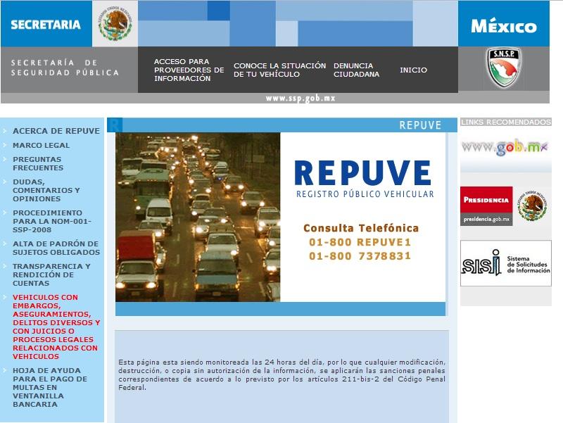 Repuve Consulta Ciudadana en Placas de Autos Robados en Mexico