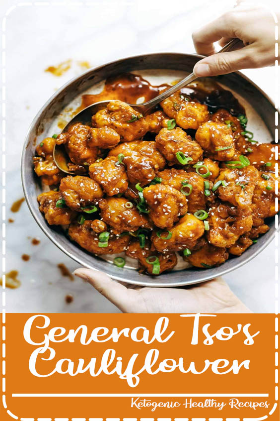golden brown crispy fried cauliflower tossed in a made General Tso's Cauliflower