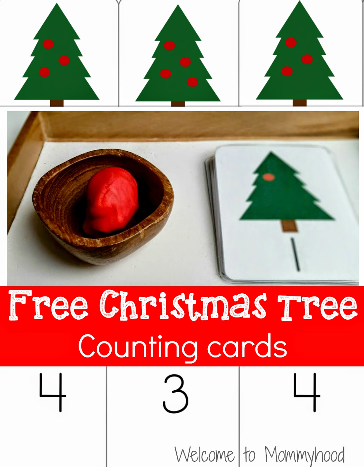 Christmas Activities For Kids: Counting cards and Montessori Inspired Activities {Welcome to Mommyhood} #ChristmasActivitiesForKids, #christmasActivities, #montessori, #christmasplaydough