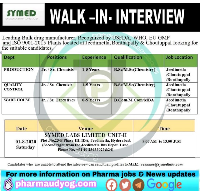 Symed Labs| Walk-in interview at Hyderabad on 1 August 2020
