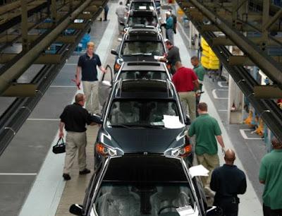 U.S. autoworkers build Hyundais on an Alabama assembly line.