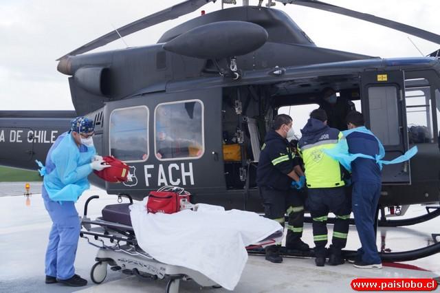 Evacuación aeromédica desde Caleta Cóndor
