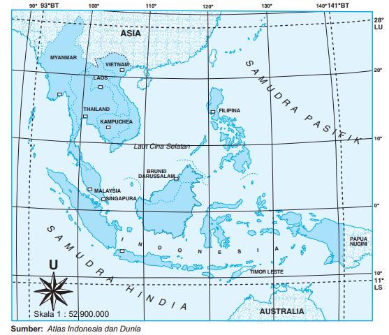 Posisi dan Letak Asia Tenggara Secara Geografis