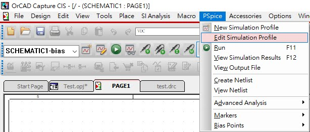 pspice edit simulation profile