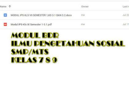 Modul BDR IPS Kelas 7, 8, 9 SMP Semester 1