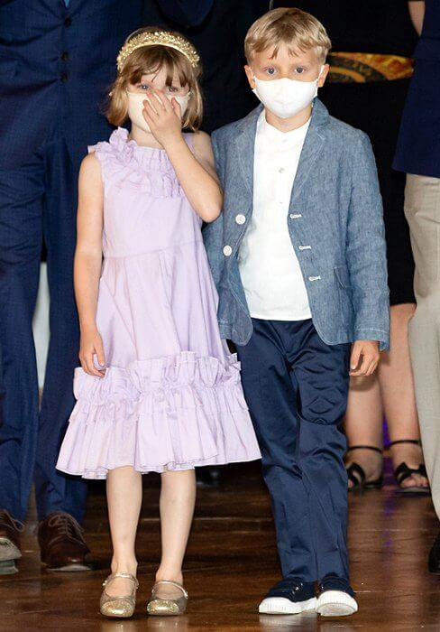 Princess Gabriella wore a purple one-shoulder ruffle cotton dress from Monnalisa. Prince Albert and Prince Jacques