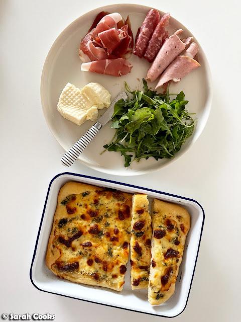 Squacquerone Garlic Pizza and Cold Cuts