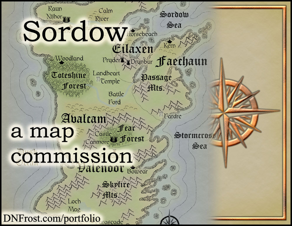 Sordow: fantasy isles of David Glenn http://www.dnfrost.com/2016/08/sordow-map-commission.html A map commission by D.N.Frost @DNFrost13 Part 1 of a series.