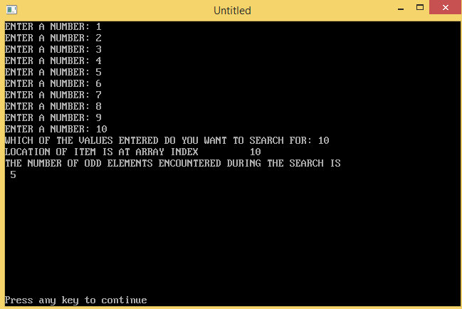 QBASIC: A PROGRAM TO SEARCH ANY NUMBER AND DISPLAY THE