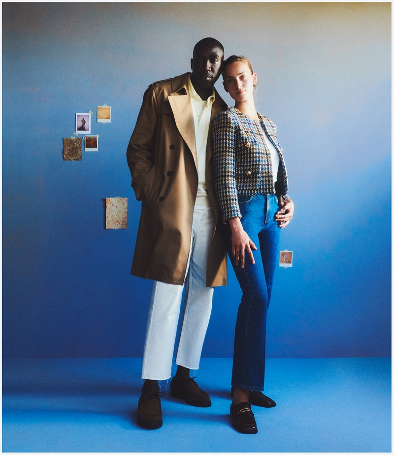 Couple Julia Bergshoeff and Camille Tanoh star in Mango Family Portraits fall-winter 2021 campaign.