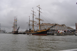 Tall ships as seen from a water taxi