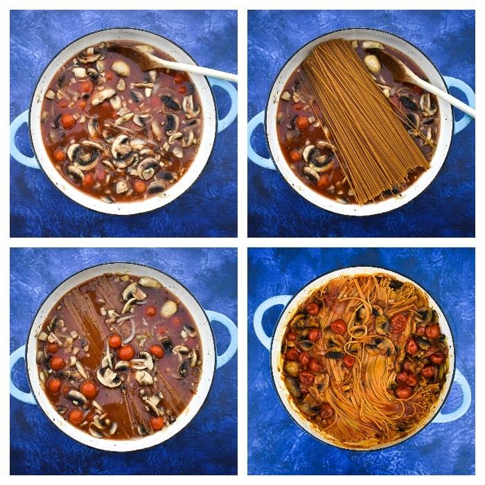One-pot mushroom and tomato spaghetti -step three - add pasta and cook