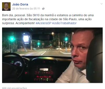 Prefeito de São Paulo João Dória mantém a população informada do que está sendo feito