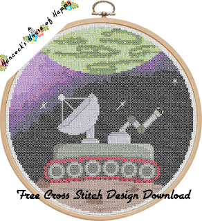 free cross stitch pattern lonely space planet rover