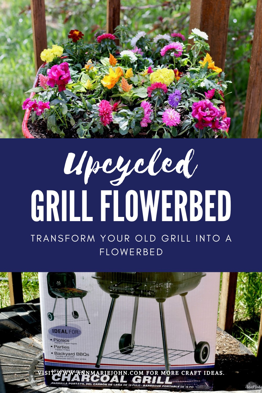 Upcycled Grill Flowerbed - Transform your old grill into a flowerbed