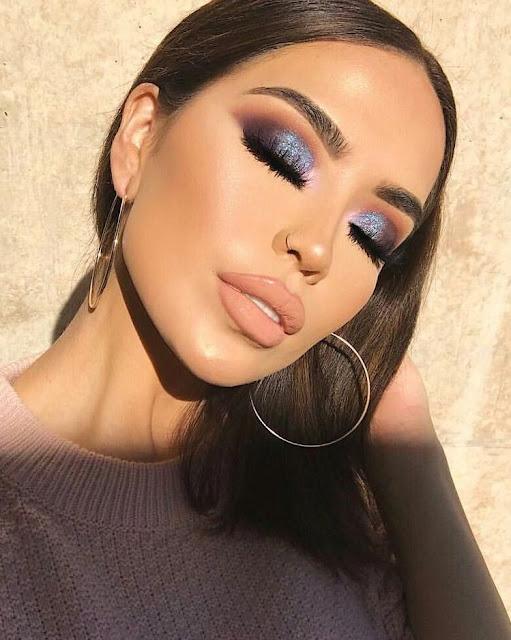 sombras azules con glitter