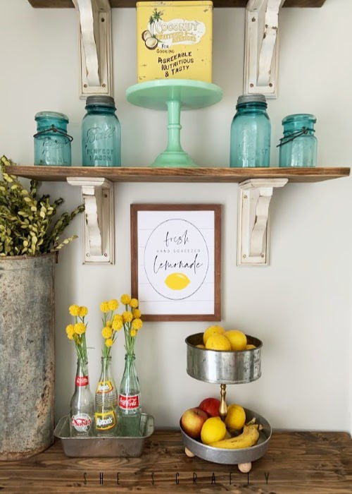 Summer Home Decor - Lemonade Printable - Open Shelves - vintage mason jars