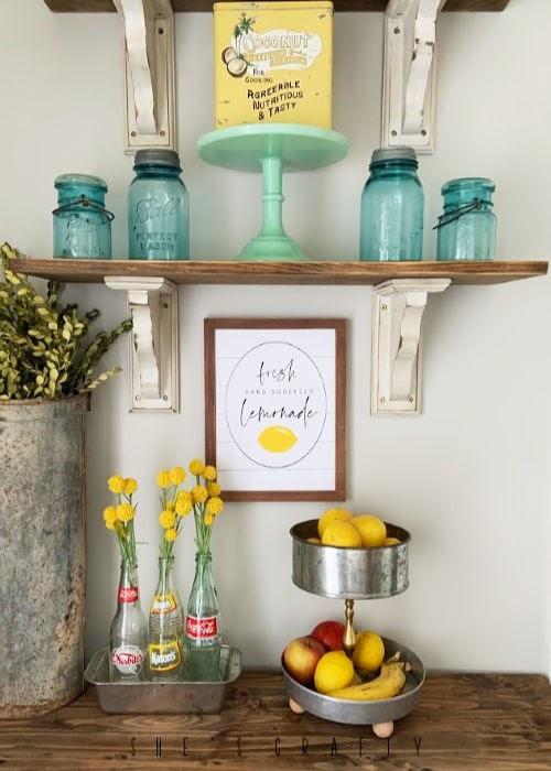 Summer Home Decor - Lemonade Printable - Open Shelves - vintage mason jars
