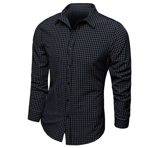 Color Block Checked Turn-down Collar LongSleeves Shirt For Men - Black Xl