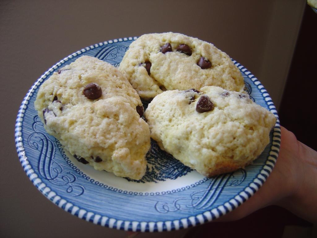 small plate of Chocolate-Chip Raisin Scones