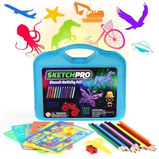 55-PC Drawing Stencils Kit with Case - HUGE Set of Plastic Stencils with Colored Pencils, Plastic Scissors, 30 Plastic Stencils Including Alphabet Stencils, Letter Stencils, Animals, Shapes, and More! by SketchPro