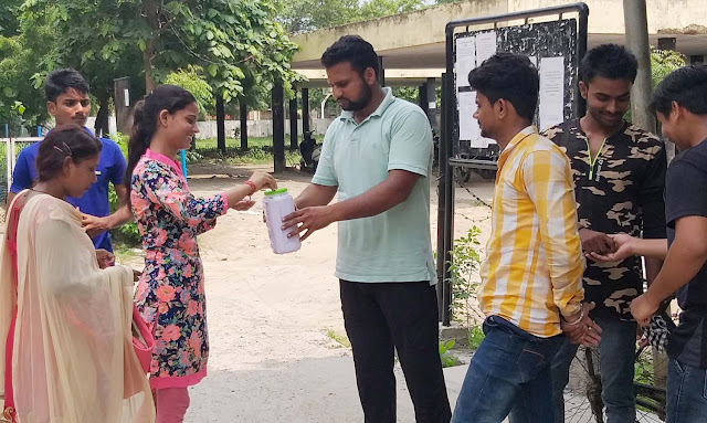 NSUI State Secretary Krishna Atri asked for help of flood victims in Kerala, Mangi Donation
