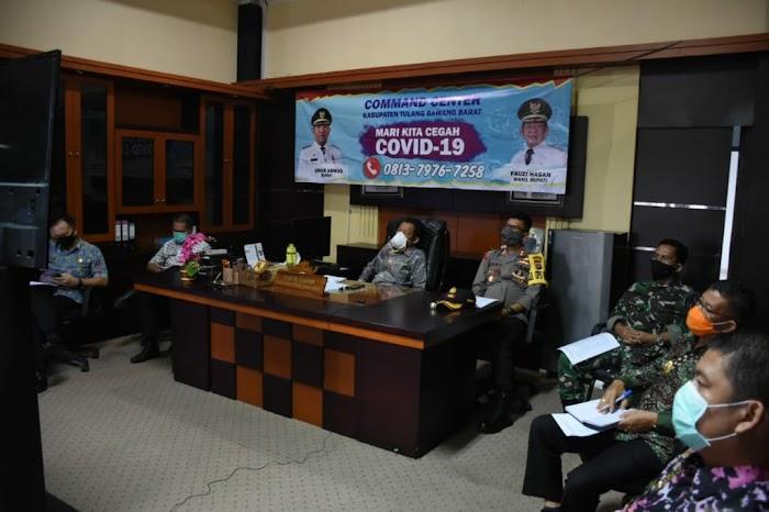 Melalui Vidio Conference Wakil Bupati Tubaba Fauzi Hasan Rakor Teleconference Dengan Gubernur Lampung.