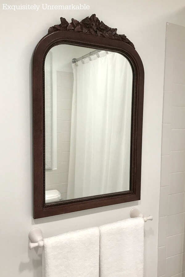 Plastic To Wood Look Mirror Makeover