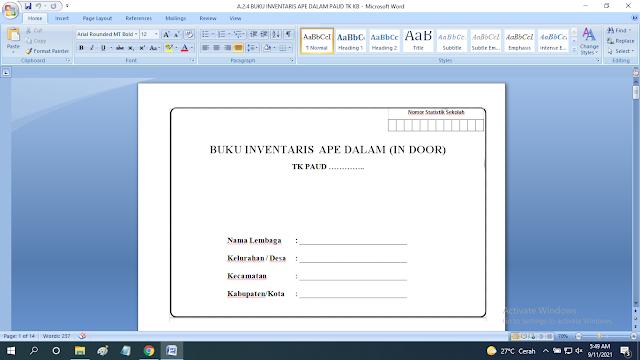 Download Contoh Buku Inventaris APE Dalam Ruang Sekolah PAUD TK KB RA