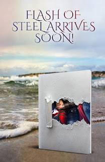 Fantasy Romance, Latina Author,  A book hovers upon a lovely beach with rolling waves in the background
