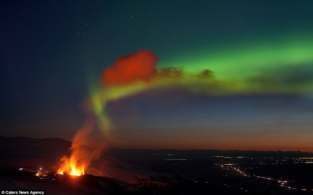 Northern Lights and Iceland volcano