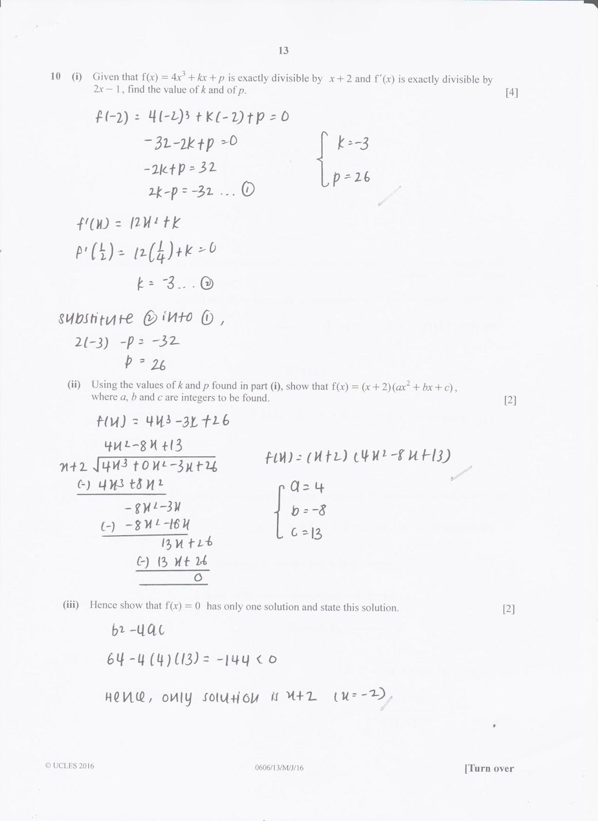 IGCSE Add Maths Working Answers [0606/13] Paper 1 2016