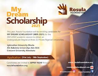 Rosula Foundation 'My Dream Scholarship' Form 2021/2022